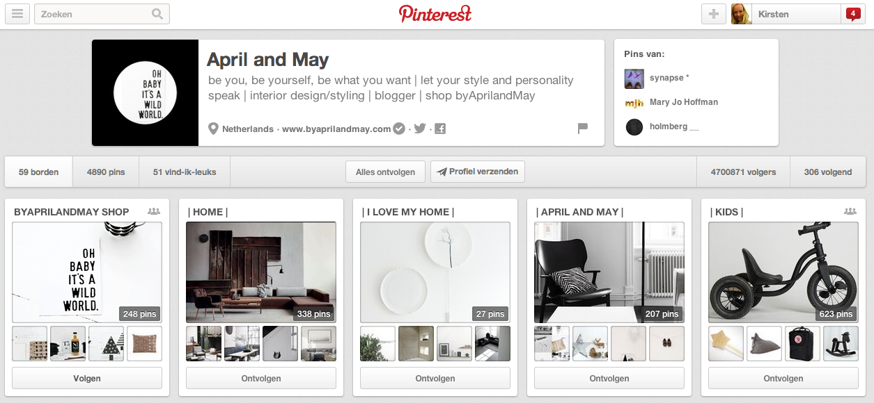 Pinterest account April&May